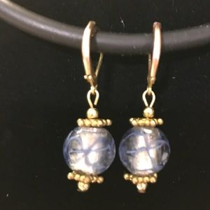 Glass bead earrings w/ Gold accents.